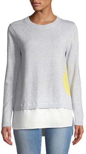 Lisa Todd Dot Sweater with Shirting Hem, Plus Size