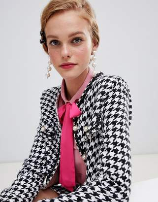 Sister Jane cropped tailored jacket in houndstooth two-piece
