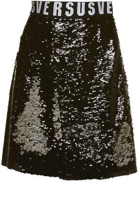 Versace All Over Sequin Flared Skirt