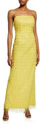Aidan Mattox Sequined Fringe Spaghetti-Strap Column Dress