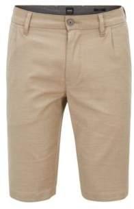 BOSS Hugo Slim-fit shorts in two-tone melange stretch cotton 32R Beige