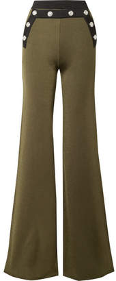 Balmain Button-embellished Two-tone Stretch-knit Flared Pants - Army green