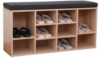 Basicwise Natural Wooden Shoe Cubicle Storage Entryway Bench with Soft Cushion for Seating