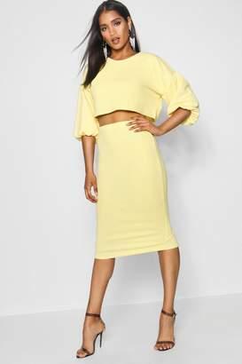 boohoo Puff Ball Sleeve Top and Midi Skirt Set