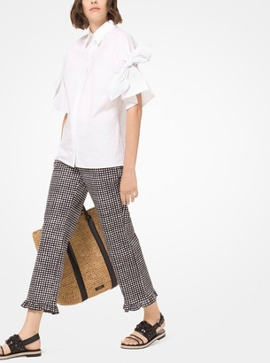 Michael Kors Gingham Stretch Cotton-Broadcloth Ruffle-Hem Trousers