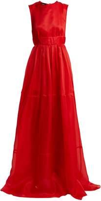 Tie-neck silk-organza gown