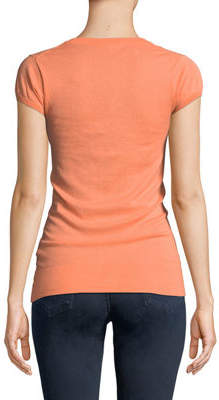 Minnie Rose V-Neck Cap-Sleeve Lightweight Sweater
