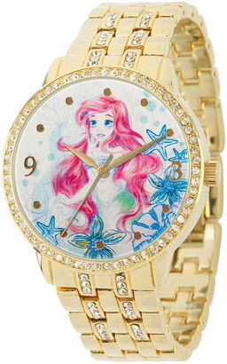 DISNEY Disney Womens Crystal-Accent Gold Alloy Ariel Bracelet Watch $55.99 thestylecure.com