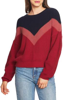 1 STATE 1.STATE Chevron Front Shaker Crewneck Cotton Sweater