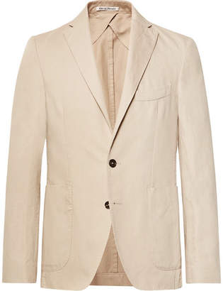 Privee SALLE Beige Ross Slim-Fit Unstructured Cotton And Linen-Blend Suit Jacket