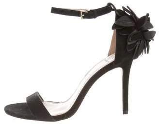 Tory Burch Floral Appliqué Ankle Strap Sandals