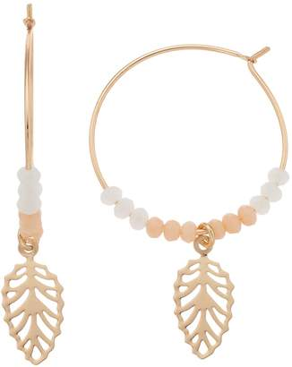 Lauren Conrad Beaded Nickel Free Leaf Hoop Drop Earrings