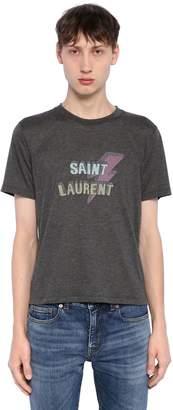 Saint Laurent Lightening Printed Jersey T-Shirt
