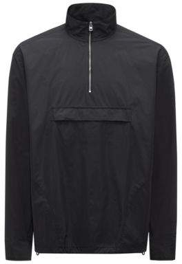 HUGO Boss Relaxed-fit zipper-neck shirt jacket in technical fabric S Black