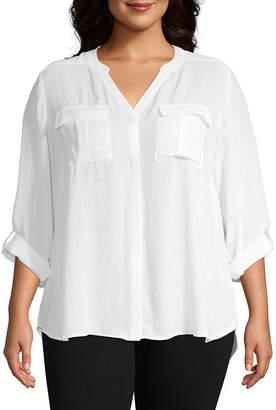 A.N.A Long Sleeve Pleat Pocket Shirt - Plus