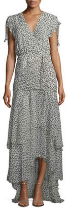 Veronica Beard Samara V-Neck Floral-Print Tiered Chiffon Maxi Dress