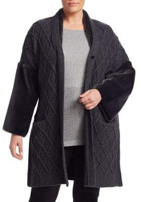 Marina Rinaldi Marina Rinaldi, Plus Size Miceneo Faux Fur-Trimmed Cabled Cardigan