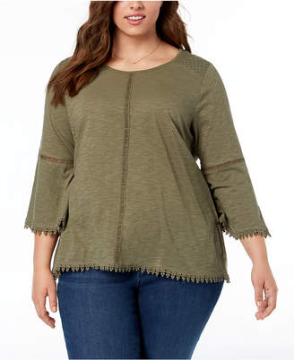 Style&Co. Style & Co Plus Size Lantern-Sleeve Swing-Hem Top, Created for Macy's