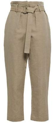 Brunello Cucinelli Belted Herringbone Cotton And Linen-blend Straight-leg Pants