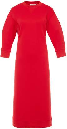 Tibi Open Back Sweatshirt Midi Dress