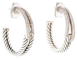 David Yurman Diamond Labyrinth Hoop Earrings