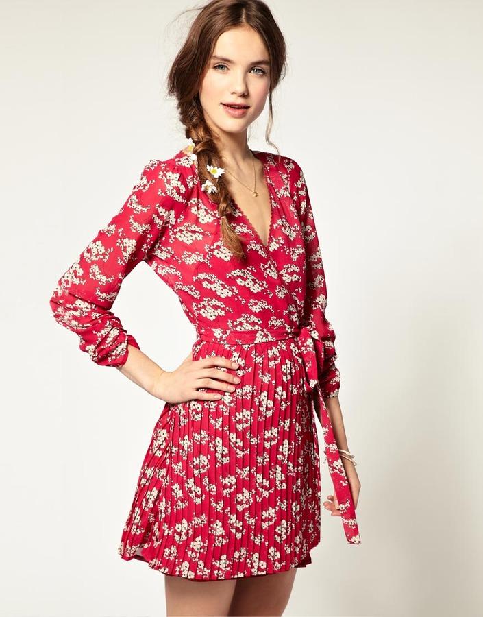 Pepe Jeans Blossom Print Pleated Dress