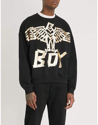 Boy London Metallic tape eagle cotton-jersey sweatshirt