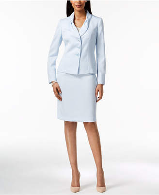 Le Suit Bow-Collar Jacquard Skirt Suit, Regular & Petite