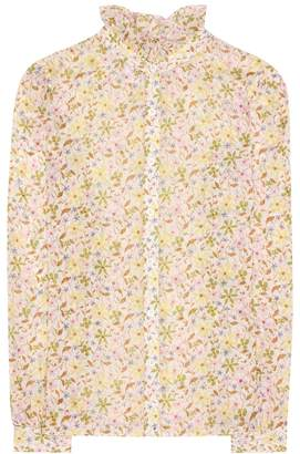 ALEXACHUNG Floral-printed cotton shirt