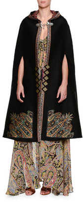 Etro Tangerin Embroidered Hooded Cape, Black/Gold $4,255 thestylecure.com