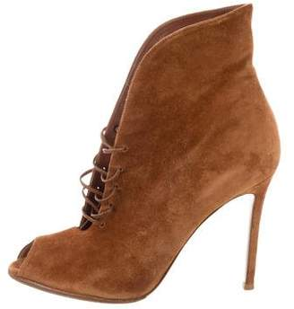 Gianvito Rossi Peep-Toe Lace-Up Ankle Boots