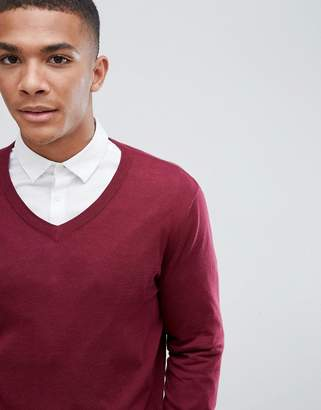 Asos DESIGN cotton v-neck sweater in burgundy