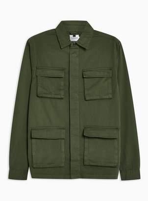 Topman Mens Khaki Four Pocket Long Sleeve Overshirt