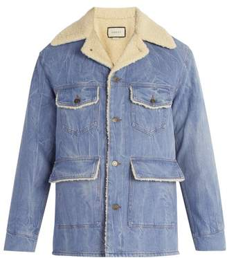 Gucci Faux Shearling Denim Jacket - Mens - Blue