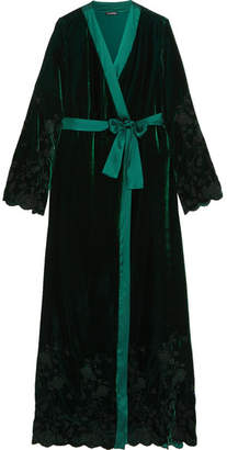 I.D. Sarrieri Nuits A Moscou Satin-trimmed Embroidered Velvet Robe - Emerald