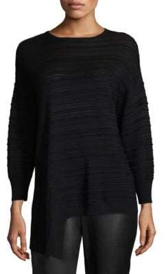 St. John Plisse-Knit Asymmetrical Sweater