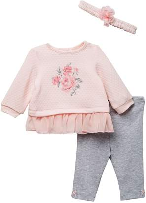 Little Me Big Roses Top, Legging, & Headband Set (Baby Girls)