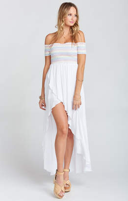 Show Me Your Mumu Willa Maxi Dress ~ White Cruise with Rainbow