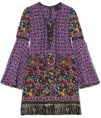 Anna Sui Printed Silk Crepe De Chine Mini Dress - Purple
