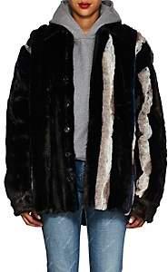 Y/Project Women's Striped Faux-Fur Jacket - Brown