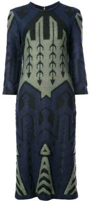 Yigal Azrouel argyle bell sleeve jacquard dress