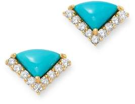 Bloomingdale's Turquoise & Diamond Stud Earrings in 14K Yellow Gold - 100% Exclusive