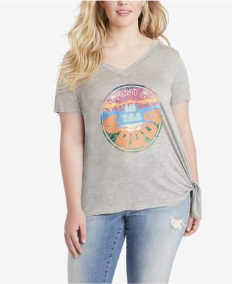 Jessica Simpson Trendy Plus Size Maya Side-Tie Printed T-Shirt