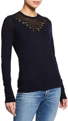 623197dff2c52 Elie Tahari Tali Crewneck Long-Sleeve Merino Wool Sweater with Mesh Inset