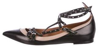 Valentino Grommet Pointed-Toe Flats