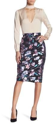 ECI Floral Foil Scuba Pencil Skirt