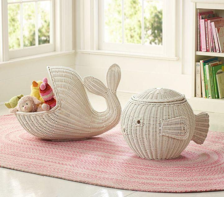 Pottery Barn Kids White Animal Shaped Baskets