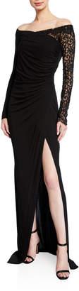 Prabal Gurung Tirana Off-The-Shoulder Jersey Lace Trim Dress