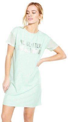 V by Very Petite Metallic Slogan T-Shirt Dress