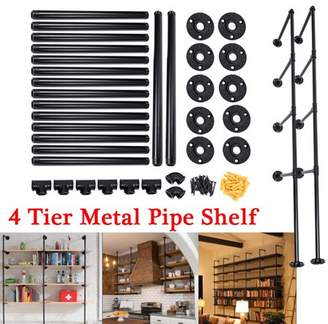 Augienb AUGIENB 4-Tier Industrial Wall-Mounted Iron Pipe Bracket Bookshelf Frame, Customizable DIY Shelving, Floating Open Display Storage for Home, Office, Commercial Use